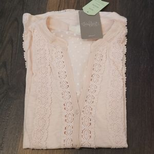 Anthropologie Meadow Rue XS Pink Top Lace Shirt